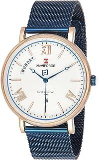 ساعة يد بعرض انالوج ومينا ابيض وسوار من الستانلس ستيل المشبك للرجال من نافي فورس - موديل NF3006-RGCE