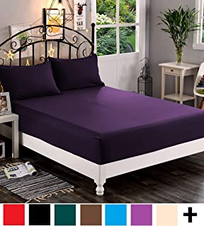 Elegant Comfort Premium Hotel 1-Piece, Luxury & Softest 1500 Thread Count Egyptian Quality Bedding Fitted Sheet Deep Pocket up to 16inch, Wrinkle and Fade Resistant, King, Eggplant-Purple