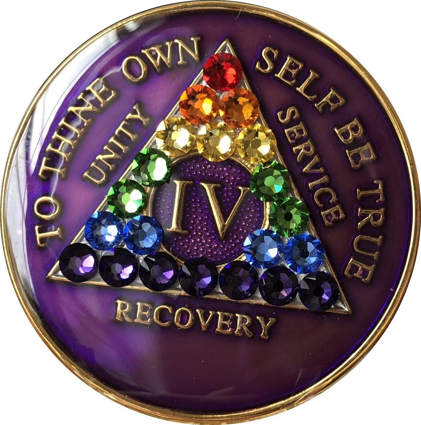 Max 44% OFF 4 Year Purple Rainbow Import Swarovski C AA Crystal Tri-Plate Medallion