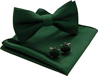 JEMYGINS کراوات کراوات رنگ جامد و مربع Pocket with Cufflinks Setting for مردان