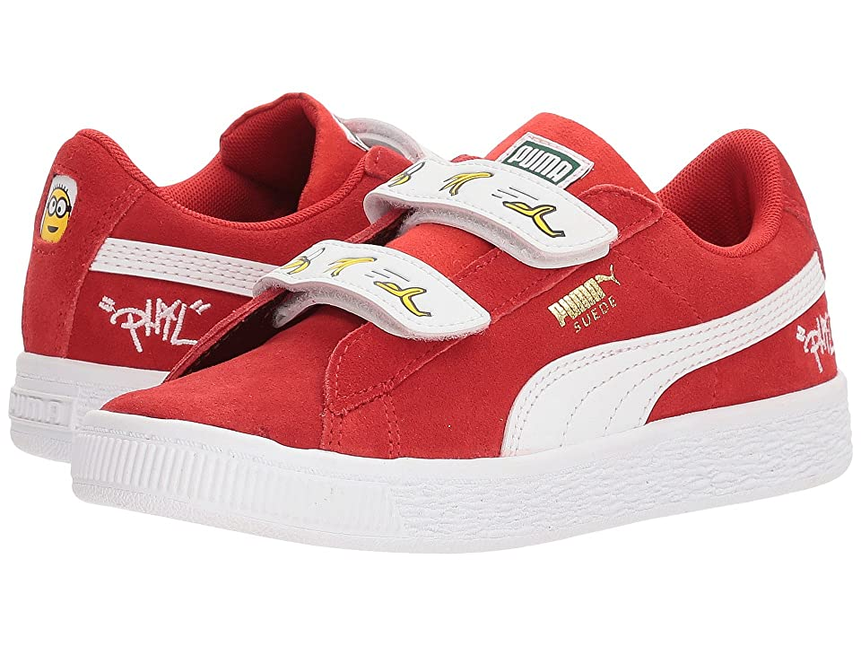 Puma Kids Minions Suede V (Little Kid) (High Risk Red/Puma White) Kids Shoes
