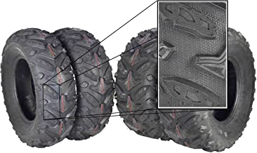 MASSFX Grinder Series ATV Dual Compound Tread Mud Sand Snow and Rock Tires (Four Pack Two Front 24x8-12 Two Rear 24x10-11) Great for Honda Rancher
