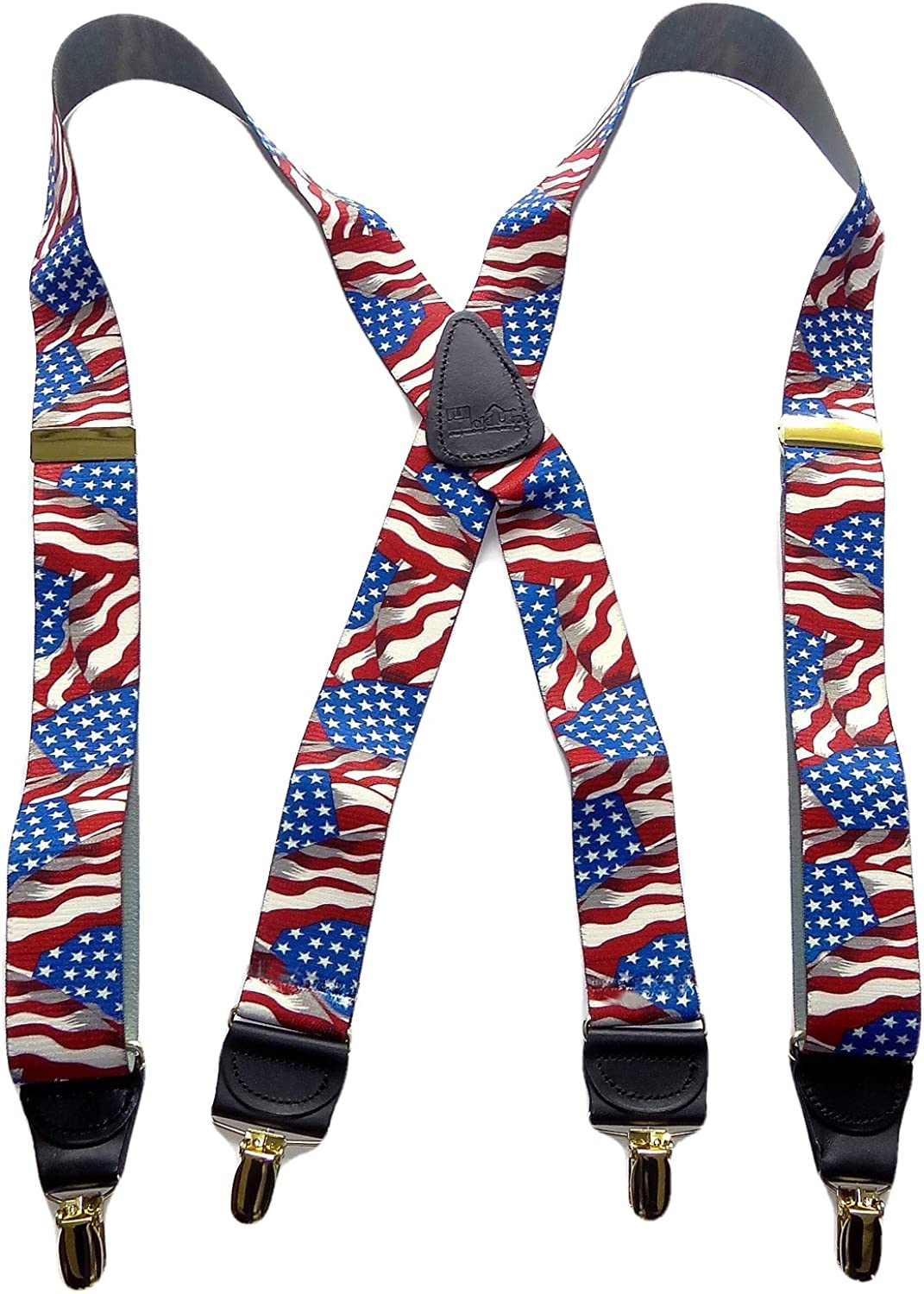 Holdup Suspender Company's USA American Flag Pattern Designer Series X-back Suspenders with Gold-tone clips