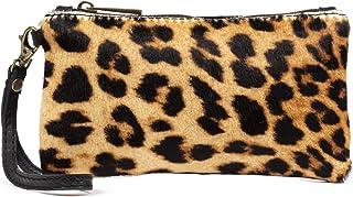 Color: Leopardo 19x10x2 cm Firenze ARTEGIANI.Cartera de Mujer Piel aut/éntica.Cartera Piel bovino con Pelo Natural de Potro Animal Print Leopardo Made IN Italy Vera Pelle Italiana