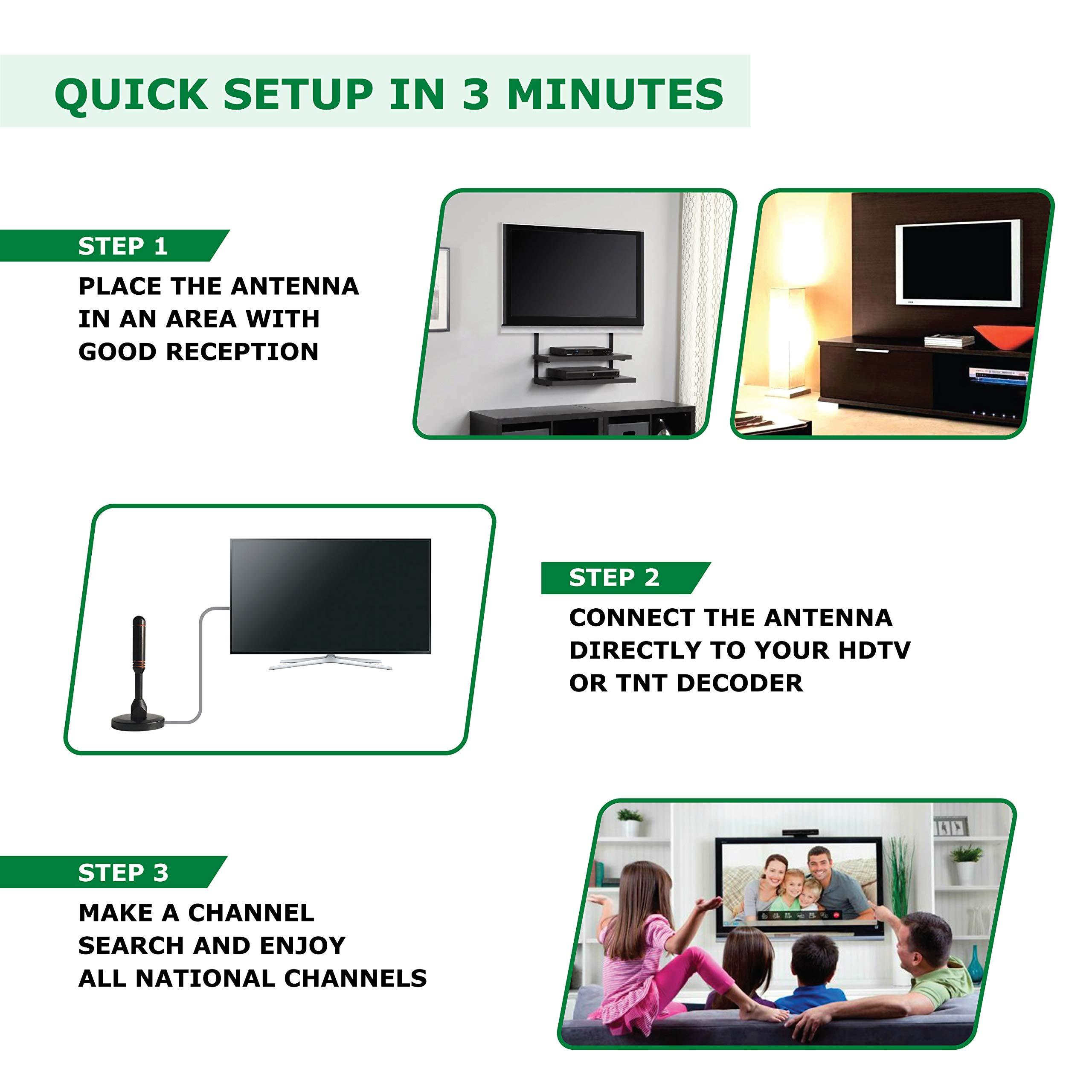 Antena TV Interior Potente, amplificador antena tv, para recepción TDT difícil, Antena TV Booster señal 200 km, Cadenas Locales gratuitas 1080P 4 K, Cable antena TV 4 m VHF, TDT Television: Amazon.es: Electrónica