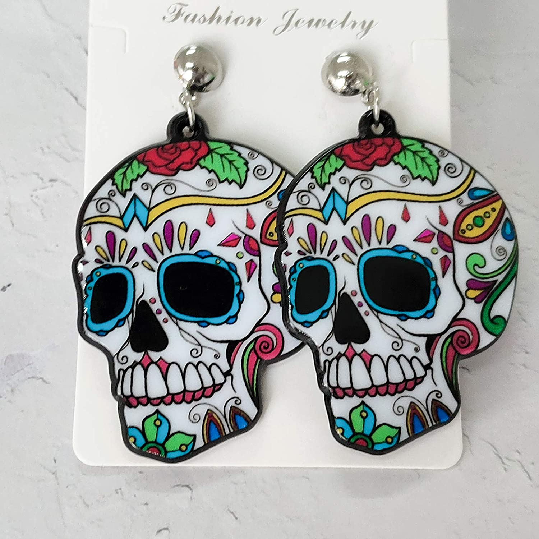 Halloween Earrings for Women Halloween Jewelry Gift Ghost Skeleton Stud Earrings for Girls