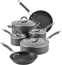 Circulon 83903 Radiance Hard Anodized Nonstick Cookware Pots and Pans Set, 10 Piece, Gray