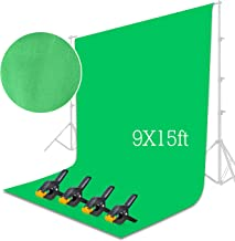 Emart Green Backdrop Background Screen 9 x 15 ft Muslin Photo Video Backdrop Studio, 4 x Backdrop Clamp Included