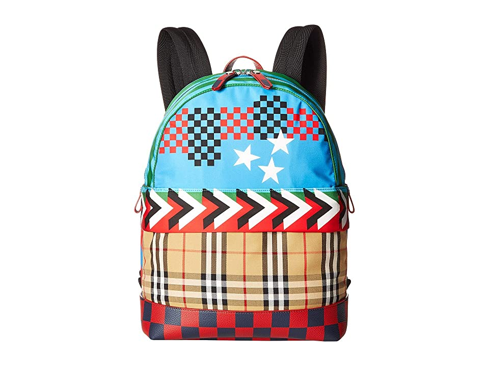 Burberry Kids Nico Geometric Backpack (Mineral Blue) Backpack Bags