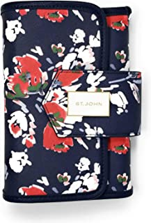 ST. JOHN Travel Navy/Floral Cosmetic Case Make Up Bag A82RQ01