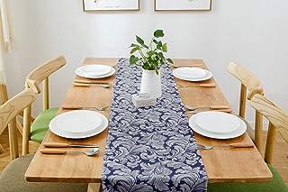 Swanson Home Chemin de table élégant de la collection Jacquard au motif vintage Tissu de haute qualité lavable Bleu foncé ...