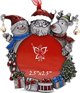"""Laraine Christmas Tree Ornaments – Decorative Hanging 2019 Holiday Keepsake Gift Santa Claus Snowman Pendant with 2.5"""" Photo Frame Insert for Picture of Pet (Santa Claus&Snowman)"""