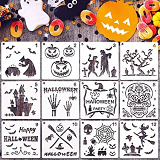 Halloween Painting Stencils Set Decorative DIY Stencils Templates and Stainless Steel Clasp for Halloween Painting on Wood, Airbrush and Walls Art (26 Pieces)