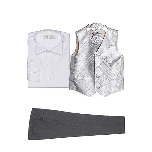 Boys Diamond Waistcoat Set in White