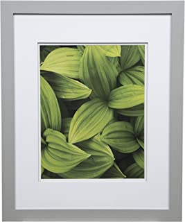 Gallery Solutions Photo 16x20 Flat Grey Wall Frame with Double White Mat for 11x14 Picture, 16