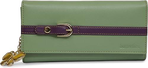 Butterflies Women Wallet (Light Green,Purple) (BNS 2421LGN)