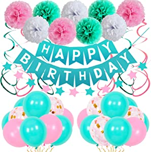 Birthday Decorations, Birthday Party Supplies Kit for Girls Women Happy Birthday Banner Pink Teal Latex Balloons Tissue Paper Pom Pom Star Garland Hanging Swirls Birthday Decor for 13th 16th 18th 21st
