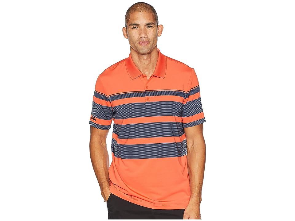 adidas Golf Ultimate Engineered Stripe Polo (Raw Amber/Tech Ink/Black) Men