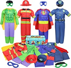 Teuevayl Boys Muscle Chest Dress up Costumes Trunk with Superhero, Policeman, Fireman Costume, Kids Pretend Role Play Cost...