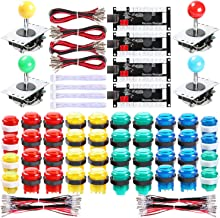 Hikig 4 Player LED Arcade Games DIY Kit, 4X Fighting Joystick + 40x LED Arcade Buttons + 4X USB Encoder for PC MAME & Raspberry Pi 1/2/3, Multicolor