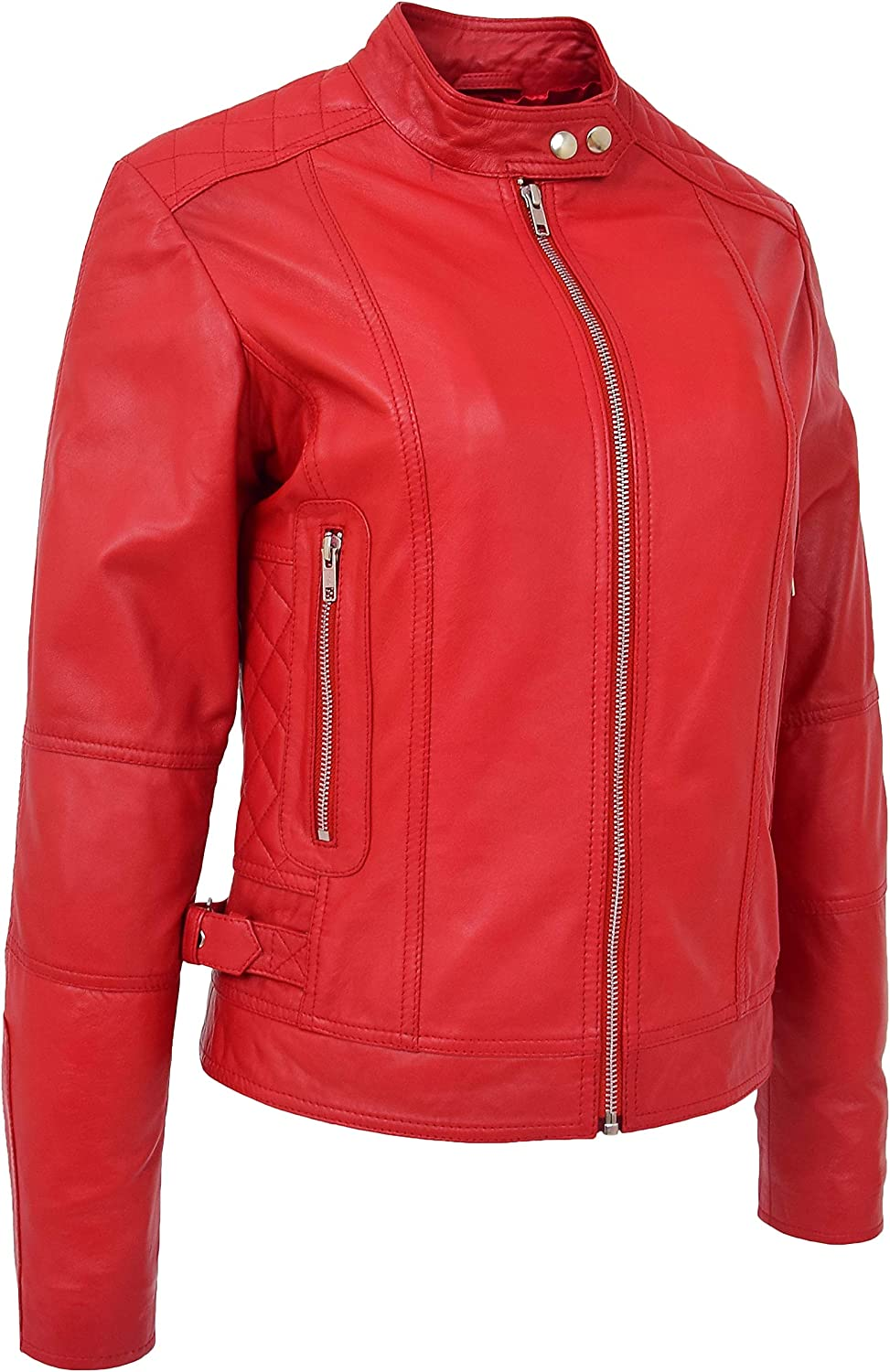Womens Soft Red Leather Biker Jacket Zip Up Designer Stylish Fitted Quilted Celeste