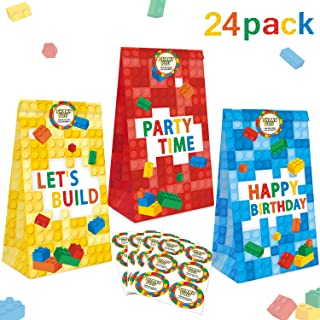 24 Packs Building Blocks Goodie Candy Treat Bags, Color Bricks Theme Building Block Party Supplies, Kids Birthday Party Fa...