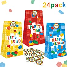 24 Packs Building Blocks Goodie Candy Treat Bags, Color Bricks Theme Building Block Party Supplies, Kids Birthday Party Favor Bags, Including Thank You Stickers