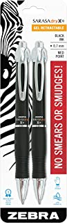 Zebra GR8 Retractable Gel Pen, Medium Point, 0.7mm, Black Barrel, Acid-Free Black Ink, 2-Count