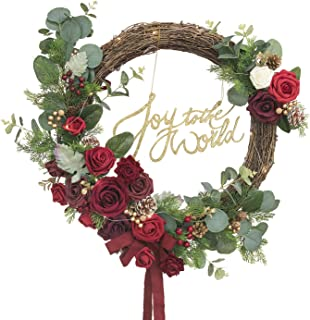 Ling's moment Christmas Wreath with Joy to The World Sign 19.5 Inch Xmas Door Wreath Flower Garland Hoop Wreath for Christmas Home Decoration (Wreath NOT Included)