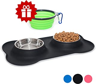 KEKS Small Dog Bowls Set of 2 Stainless Steel Bowls with Non-Skid & No Spill Silicone Black Stand for Small Dogs Cats Puppy & Collapsible Travel Pet Bowl