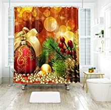 AMDXD Shower Curtain Polyester 60x72Inch (150x180CM), Christmas Tree Bathroom Shower Curtain 3D, Bathroom Decor with 12 Ho...