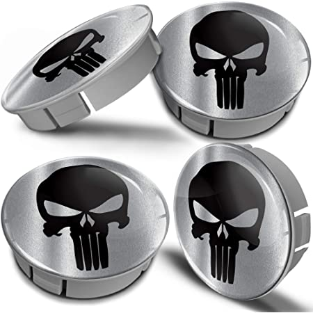 Biomar Labs 4 X 60mm Kunststoff Nabenkappen Kappen Silber Schädel Punisher Totenkopf Silver Skull Felgendeckel Radkappen Radnabendeckel Nabendeckel Auto Tuning Cs 9 Auto