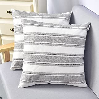NATUS WEAVER 2 Piece Stripe Pillow Cases Soft Faux Linen Square Decorative Throw Cushion Cover with Hidden Zipper for Sofa Bed Living Room Grey Brown Black White Mixed 24 x 24