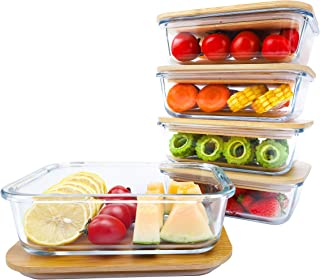 BlueHills Premium Glass Meal Prep Lunch Containers with Bamboo Lids Plastic Free Glass Food Containers BPA-Free Microwave ...