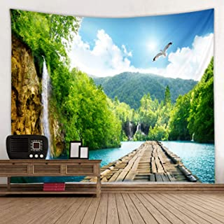 Wooden Bridge Lake Print Fabric Tapestry Decor Wall Art Tablecloths Bedspread Picnic Blanket Beach Throw Tapestries Colorful Bedroom Hall Dorm Living Room Hanging 79 x 59 inches