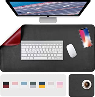 """Desk Pad, Desk Mat, Mouse Mat, XL Desk Pads Dual-Sided Black/Red, 31.5"""" x 15.7"""" + 8""""x11"""" PU Leather Mouse Pad2 Pack Water..."""
