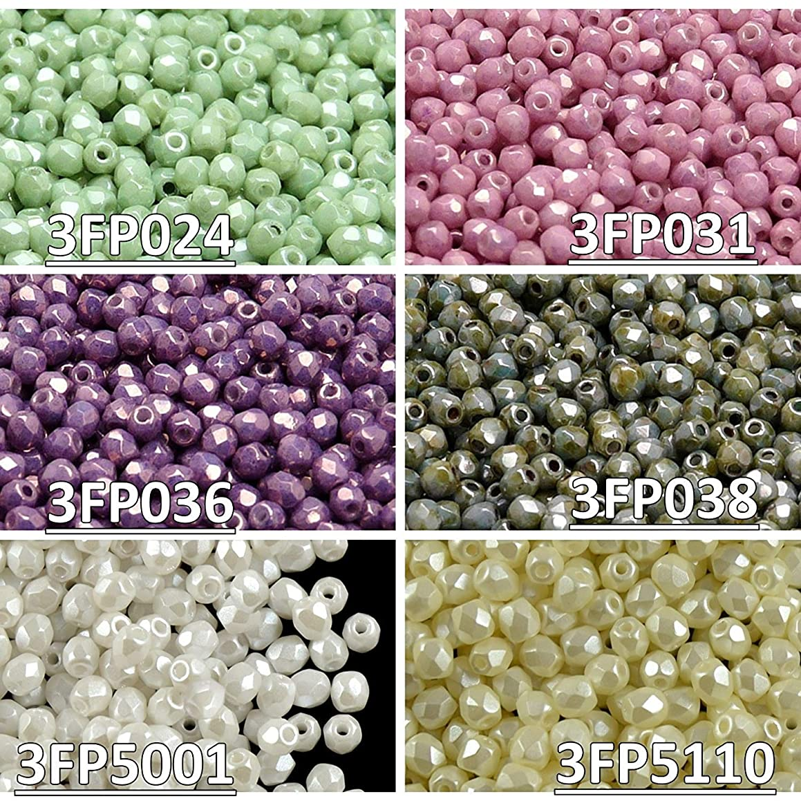 600 beads 6 colors Unique Set 328 Czech Fire-Polished Faceted Glass Beads Round 3 mm, 3FP024 3FP031 3FP036 3FP038 3FP5001 3FP5110