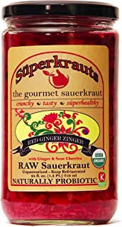 """Red Ginger"" gourmet sauerkraut: organic, raw fermented, unpasteurized, probiotic, kosher, vegan and gluten free. 24 fl. oz., 16 flavors available. No shipping charges with minimum."