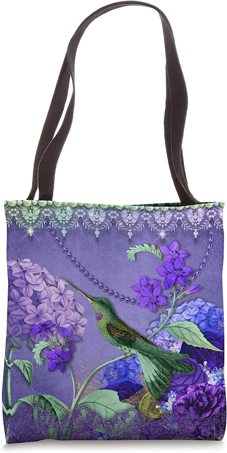 Beautiful Hummingbird with hydrangeas, roses, lace, crystals Tote Bag