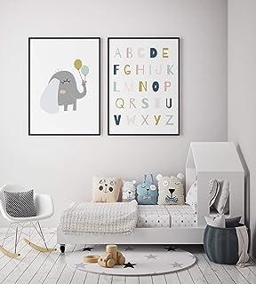 MILUKA Zestaw 2 dziecięcych dekoracyjnych wydruków artysty