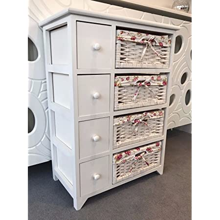 Home Delights White Chest Of Drawers Shabby Chic Wicker Baskets Storage Unit Pink Bedroom Amazon Co Uk Kitchen Home