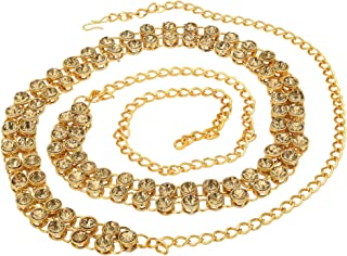 Sanjog Stylish 2 Line Stone Brass Kamarband Belly Chains for Women