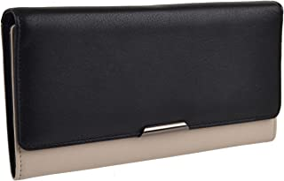 Women's Leather Long Flap Over Purse Wallet By Graffiti Gift Box