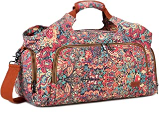 BAOSHA Women's Colorful Sports Gym Bag Weekender Travel Duffel Tote Bag Carry-on Overnight bag with Shoe Compartment & Yog...