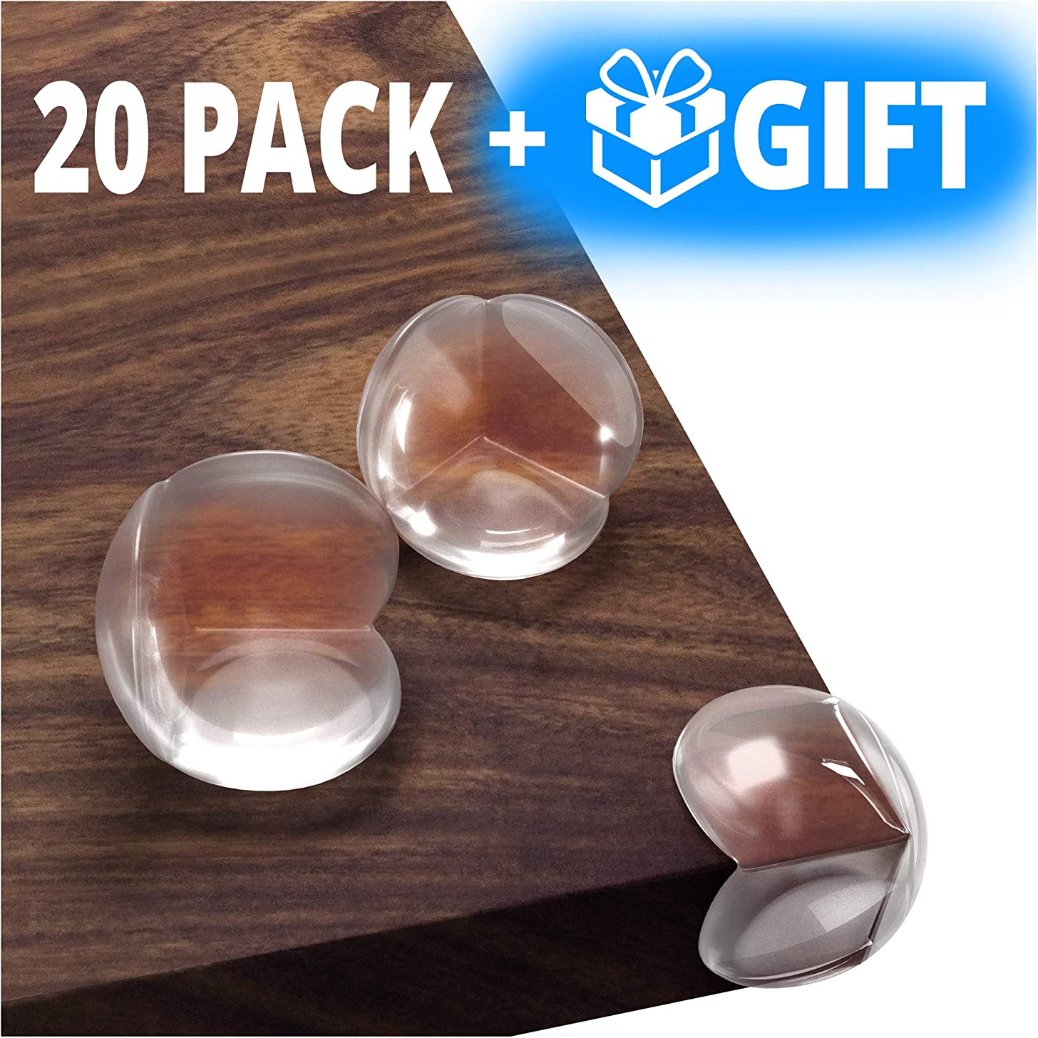 Kids Clear Corner Guards -20 Pack + Free Gift- Child Safety Sharp Corner Protector – Table Corner Protectors for Baby Proofing - Baby Safety Adhesive Edge Bumpers - Glass Furniture Child Proof Guards