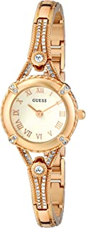 GUESS Women's U0135L2 Petite Gold-Tone Watch with White Dial Crystal-Accented Bezel and Stainless Steel G-Link Band