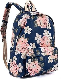 Cute Print Laptop Backpack Bookbags School Bags Travel Daypack by VOLINER Floral Dark Blue Floral Dark Blue