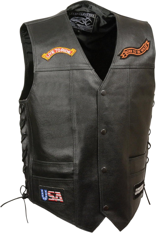 Event Leather Men's 9 Patches Vest