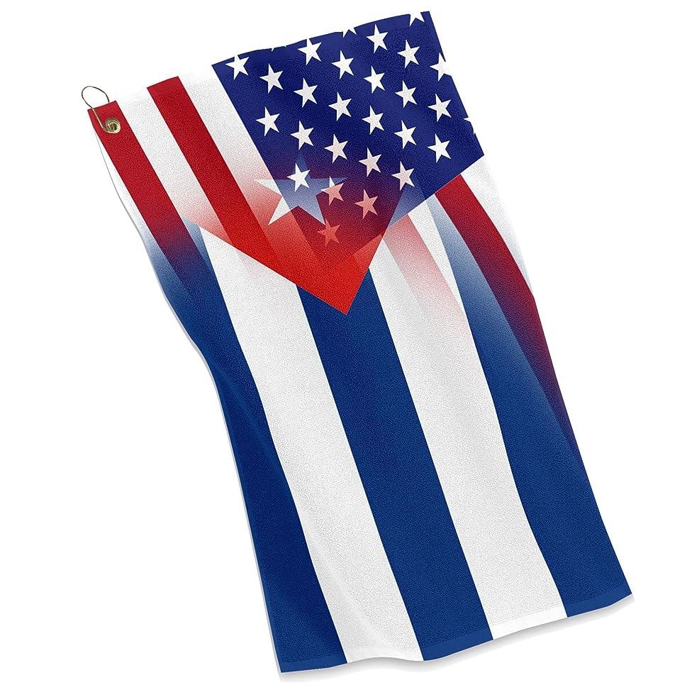 Golf / Sports Towel - Flag of Cuba & USA - Cuban