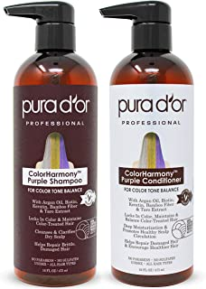PURA D'OR ColorHarmony Purple Shampoo & Conditioner Biotin Set (16oz x 2) For Bleached, Blonde, Silver & Color Treated Hair - Keratin, Bamboo Fiber, Sulfate Free, Natural Ingredients - Men & Women